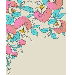 background with pink sweet pea vector image