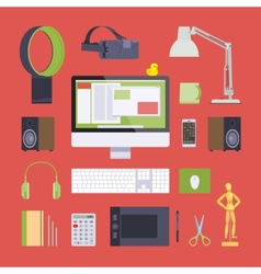 Items from the digital artist workplace vector