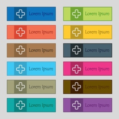Plus icon sign set of twelve rectangular colorful vector