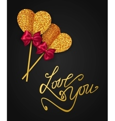 Love you - valentines day greeting card happy vector