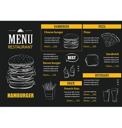 Restaurant cafe menu with hand drawn graphic vector