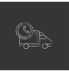 Delivery truck drawn in chalk icon vector