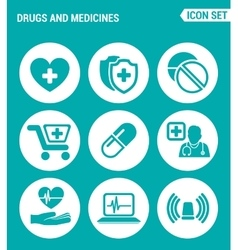 Set of round icons white drugs and medicines vector