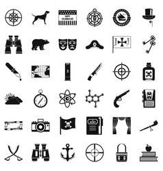 Adventure icons set simple style vector