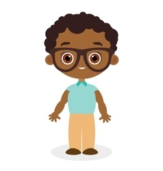 African American boy with glasses vector image