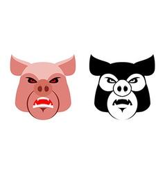 Angry pig aggressive wild boar logo big boar vector