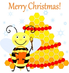 Bee and Christmas tree vector image vector image