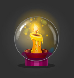 Burning candle in a glass bowl vector