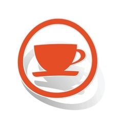 Cup sign sticker orange vector image