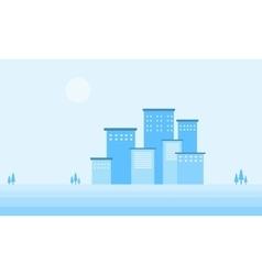 Design flat winter city of silhouette vector