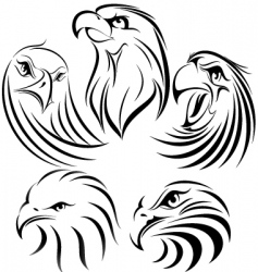 eagle set vector image vector image