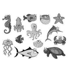 Fishes and ocean animals cartoon icons vector