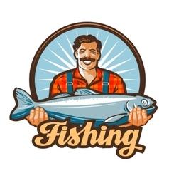fishing logo fisherman or fish icon vector image vector image