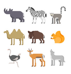 Flat style set of animals rhinoceros wolf lemur vector
