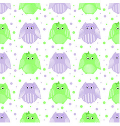 Green and purple striped owls vector