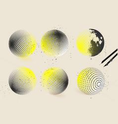 halftone sphere designs vector image