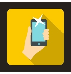 Hand photographed on a mobile phone icon vector image