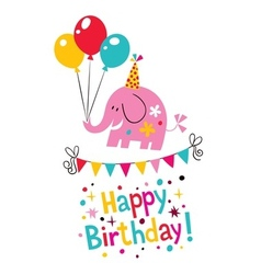 Happy birthday elephant card vector