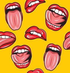Lips pop art seamless pattern2 vector image