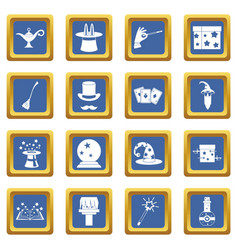 magic icons set blue vector image