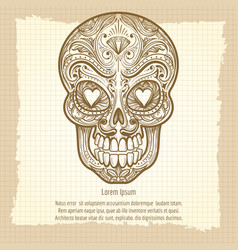 mexican decorative skull on vintage background vector image vector image