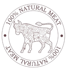 Natural meat stamp with bull vector image vector image