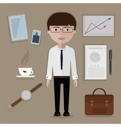 Office worker and business tools things vector image