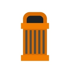 Orange outdoor bin icon flat style vector image
