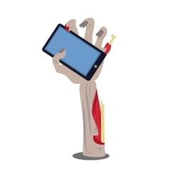 Phone in broken zombie hand vector