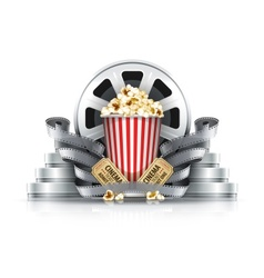 Popcorn film-strips and disks vector image vector image
