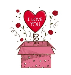 Present box with heart vector image vector image