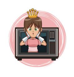 Princess videogame character cartoon on tv vector