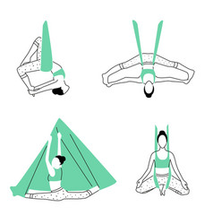 Set of aerial fly yoga poses anti-gravity yoga vector