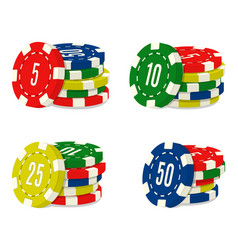 set of four casino chips stacks with different vector image