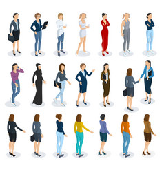 set of isometric standing women vector image vector image