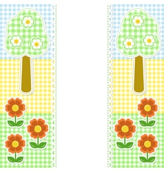 Spring frame with flowers on textile background vector image