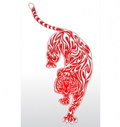 tiger tattoo 2 red outline vector image