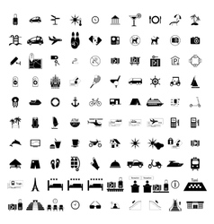 Tourism hotel simple black icons vector image