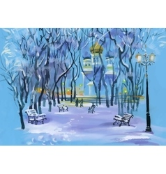Watercolor winter landscape with church in park vector image