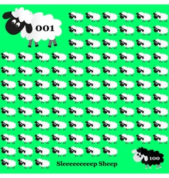 White and black sheep counting on green background vector