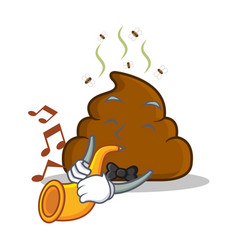 With trumpet poop emoticon character cartoon vector