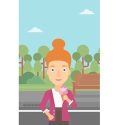 Woman holding icecream vector