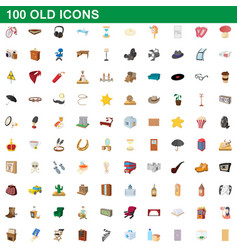100 old icons set cartoon style vector image vector image