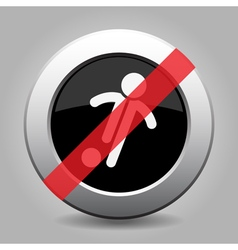 Gray chrome button - no football soccer player vector