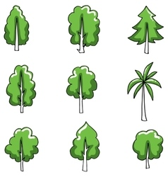 Doodle of tree set various object vector image