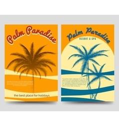 Palm paradise flyers set vector