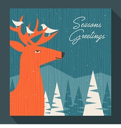 Greeting card winter scene with deer and birds vector