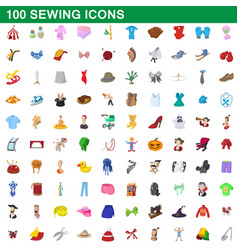 100 sewing icons set cartoon style vector
