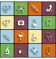 Medical flat icons set vector