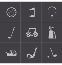 black golf icons set vector image